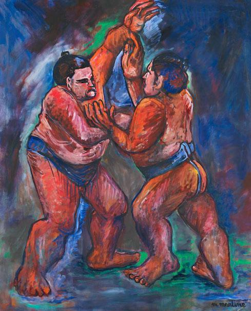 GRANDS SUMOS de profil. 2002. Huile sur toile. 162 X 130 cm