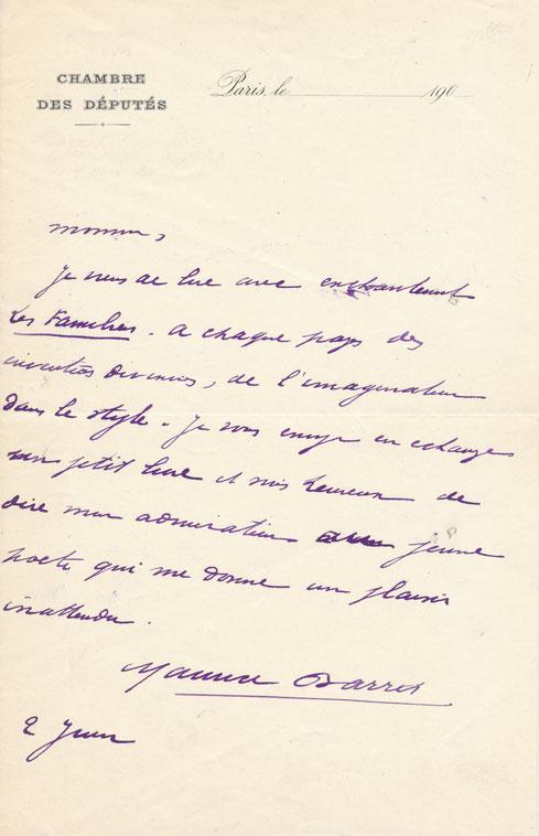 Maurice Barrès, lettre autographe signée