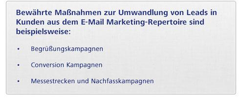 Bewährte Maßnahmen zur Umwandlung von leads in Kunden aus dem E-Mail Marketing-Repertoire sind beispielsweise: - Begrüßungskampagnen - Conversion Kampagnen - Messestrecken und Nachfasskampagnen