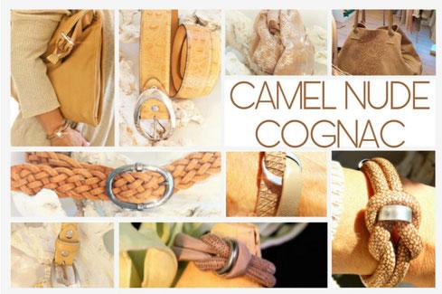 Accessoires in Camel Cognac und Nude
