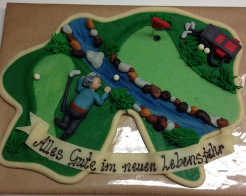 Golf, Golfer, Sport, Marzipan-Geschenk, Marzipan-Präsent, Tortendekoration, Festtagstorte, Torte Geburtstag