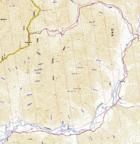 今回のルート 距離:38.6km 累積標高差:1900m(登り)
