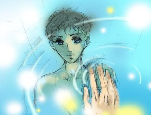 Der kleine Dominik spiegelt sich im Wasser wieder XP