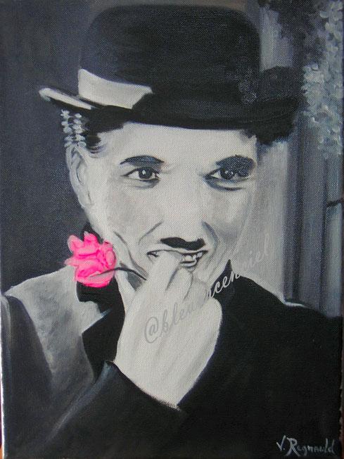 2011 Charles Chaplin Peinture à l'huile sur toile de coton d'après l'auteur