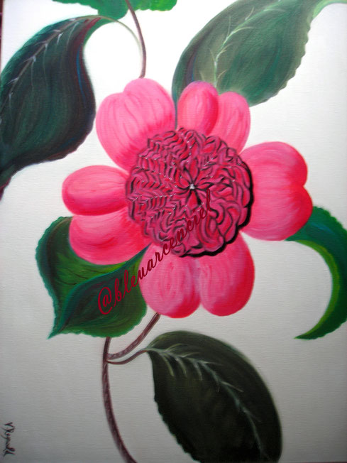 2010 Flora Camellia d'après l'auteur Eliot Brent Peinture à l'huile sur toile de coton 40/50 cm