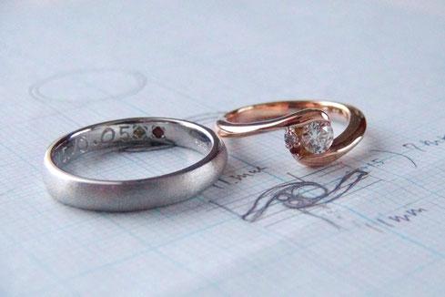 Pt900/K18PG手作り結婚指輪