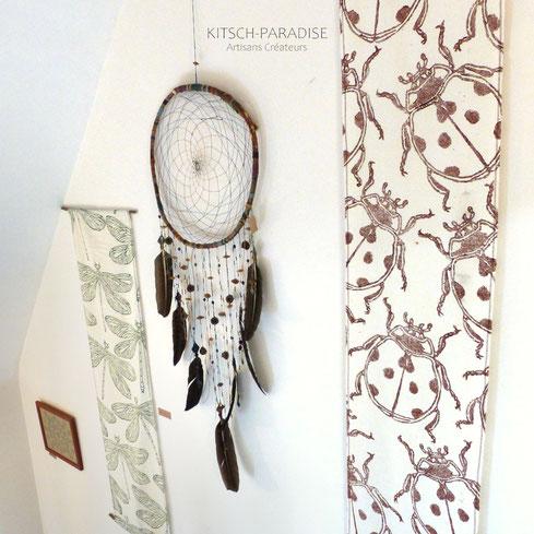 attrape reve etendard macrame plume atelier kitsch-paradise artisans createur