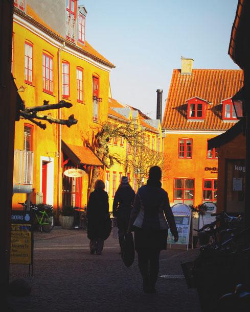 koge danemark promeneur marché ville orange