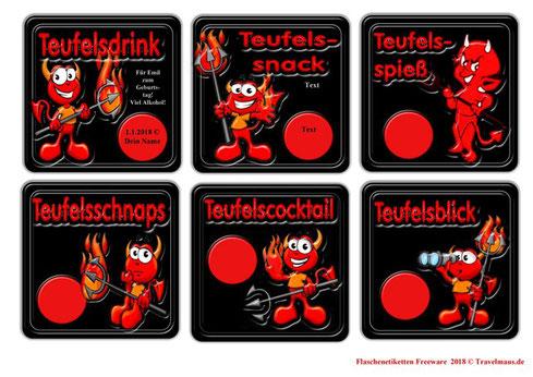 Teufelsetiketten - Flaschenetiketten - Texte am PC ergänzen
