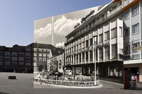Bahnhofsplatz in der 60er Jahren und heute.