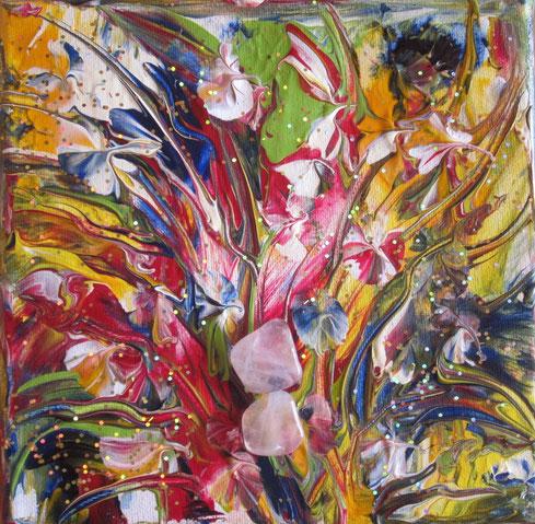 Frühlingstanz 15x15cm Acryl .....2 Rosenquarze