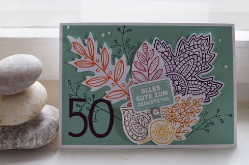 Zum runden Geburtstag mit Blättern - Patricia Stich 2016