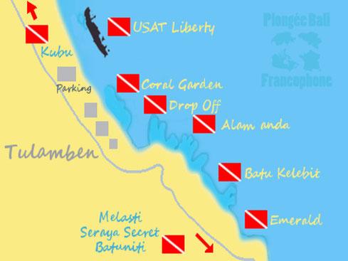 Carte des sites de plongée de Tulamben à Bali