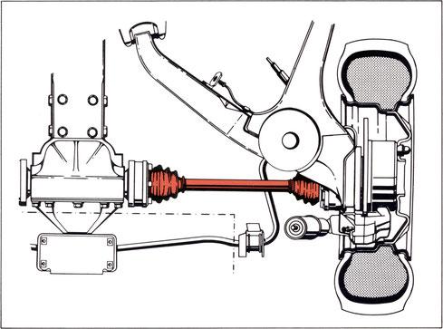Antriebswellen mit homokinetischen Gelenken (rot)