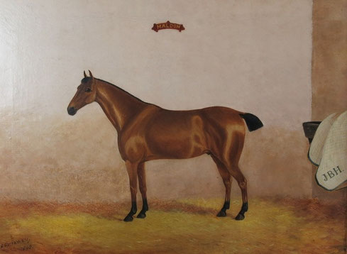 English 19th century folk art oil portrait of a chestnut horse in his stable