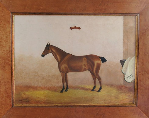 English 19th century folk art portrait of a chestnut horse in his stable