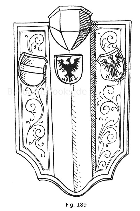 Fig. 188. Reiter mit übereck gestelltem Achselschilde aus einer Miniatur in einer Sammlung von Romanen in der königl. Bibliothek zu London. Mscr. 14. E. 3. Erste Hälfte des 14. Jahrhunderts. Nach Hewitt.