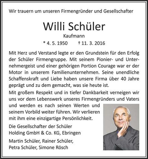 Traueranzeige zum Tode von Willi Schüler 2016