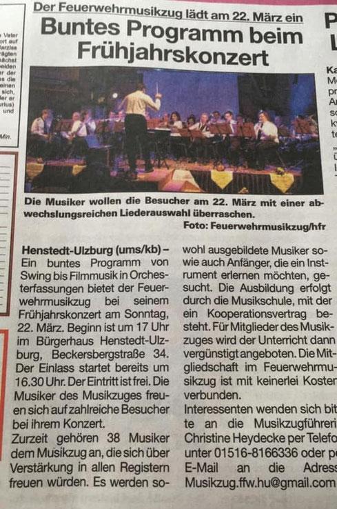 Umschau Artikel Frühjahrskonzert Orchester