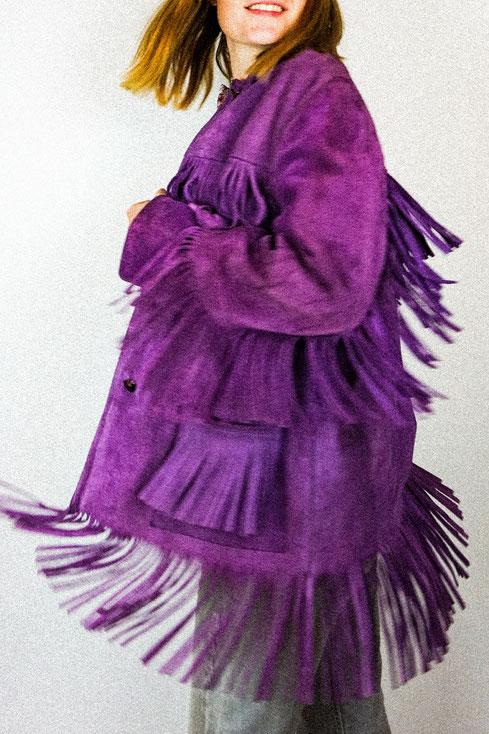 Felicita Vintage - Veste vintage violette en daim à franges