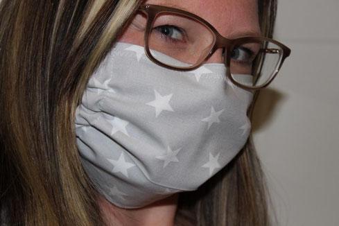 Behelfsmaske Mund-Nasen-Maske Baumwolle handgenäht in Bayern