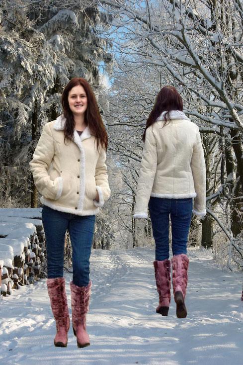 Preisgünstig und nachhaltig: Winterliches Outfit secondhand Winterjacke und Winterstiefel