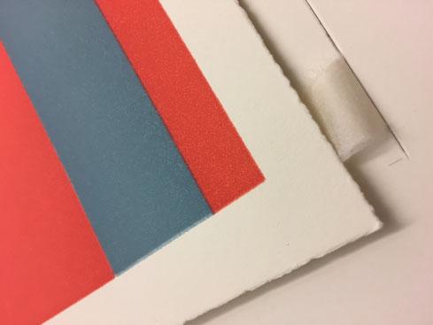 Grafik fixieren; Falz, Japanpapier (water-cut). Leim, Zin Shofu