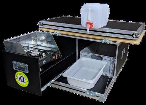 iQ-Chuckbox mit Kocher, Windschutz, Wasserkanister und Auslaufhahn