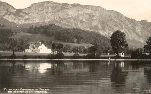 """Historische Ansicht Mahler Komponierhäuschen am Seeufer - links das """"Gasthaus zum Höllengebirge"""""""