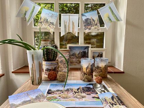 Kaktus dekoration wandbild kaktus windlicht