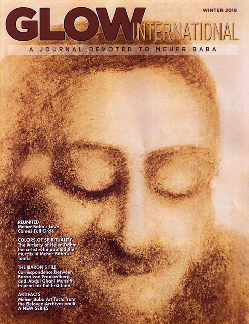 Glow International magazine used one of Helen's depictions of Meher Baba on the cover in 2019.