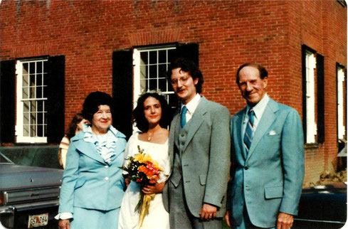 Wedding Day - September 27, 1981 — with Jeanne Shaw, Zo Newell and Darwin C. Shaw at Old Deerfield, Massachusetts