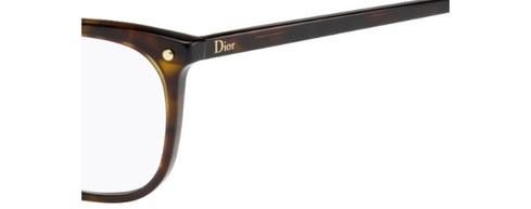 Un dettaglio degli occhiali da vista squadrati Christian Dior donna CD3270 086 avana scuro in acetato. Calibro 53-13.