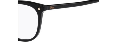 Dettaglio del musetto dell'occhiale da vista squadrato Christian Dior donna CD3270 807 nero in acetato. Calibro 53-13.