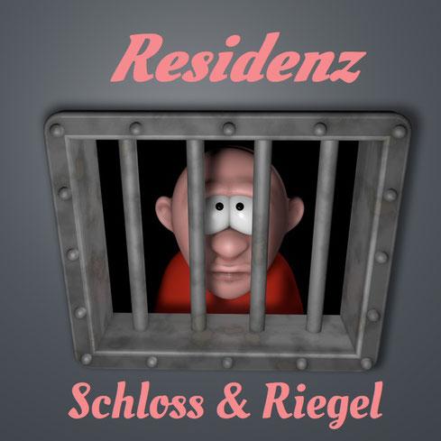 Mann schaut durch Gitter aus Gefängniszelle. Dazu der Titel: Residenz Schloss & Riegel.