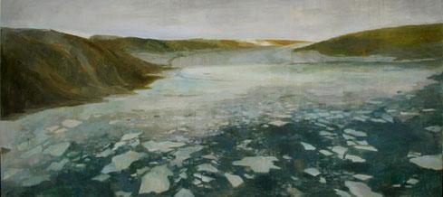 Eislandschaft 2, 2009, 60 x 120 cm, Acrylfarbe auf Holz