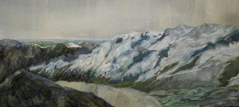 Eislandschaft 1, 2009, 60 x 120 cm, Acrylfarbe auf Holz