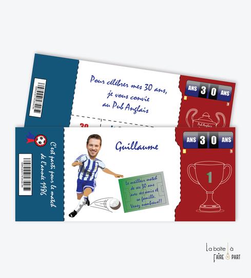 Invitation anniversaire homme-carte invitation anniversaire homme- football-ballon-coupe-match-footballeur