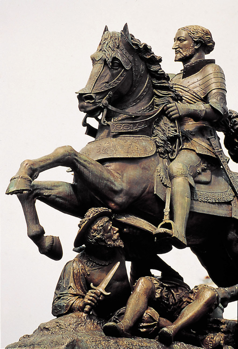 COGNAC 1864. STATUE EQUESTRE DU ROI FRANCOIS Ier, BÂTISSEUR DE CHAMBORD (1494Cognac+1547 Rambouillet) par A.ETEX  (1808+1888)