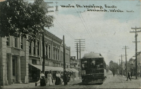 Travelers on Zeeland's Main Avenue 100 years ago could hitch a ride on 60-foot Interurban cars, riding to Holland, Saugatuck and many eastward destinations. Contributed