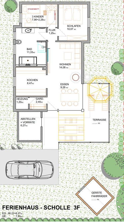 Ferienhaus Scholle F3 -Skizze-