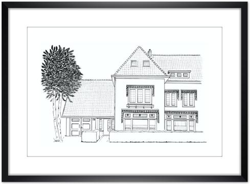 Huisportret Potlood en Pen Erna Sinnige houseportrait