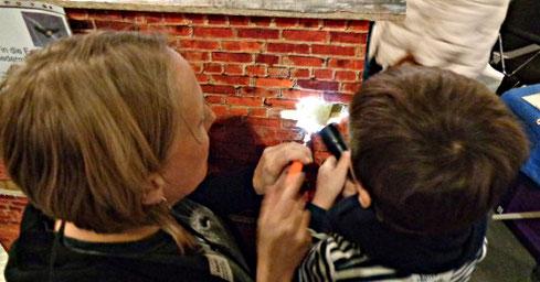 Finde die Fledermaus: mit Spiegel und Taschenlampe können auch kleine Spalten untersucht werden
