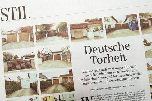 Architekturfotograf und Bildjournalist München: Beitrag in der Süddeutschen Zeitung zum Thema Garagen.