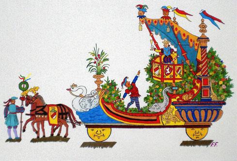 Zeichnung des Prinzenwagens 1897
