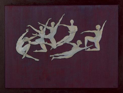 Claudine Oliviero, Choréographie d´un soir, Acryl und Collage auf Karton, 2015