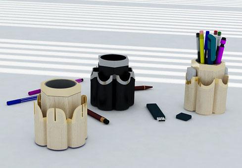 Pot à crayons et clés USB en composite.