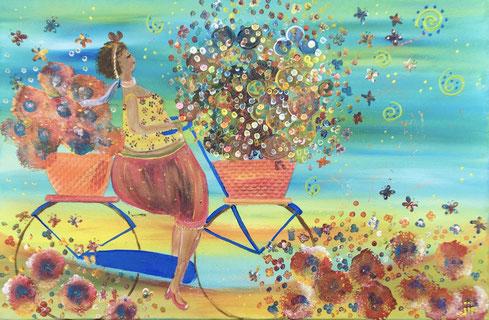 op de fiets met klaprozen en vrolijke bloemen