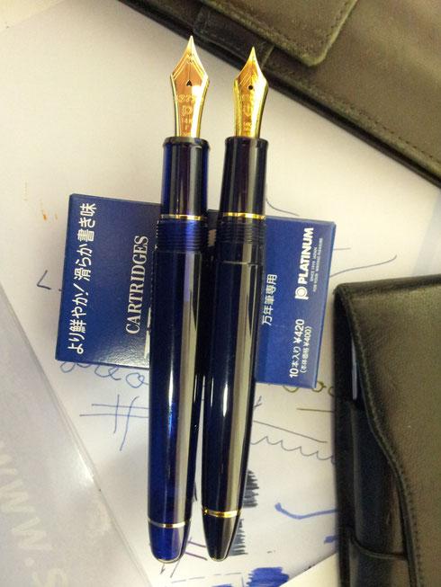 Platinum 3776 gegen Sailor 1911 Standard in Blau