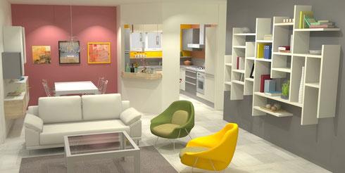 Architettura di interni con render 3D